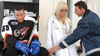 Hockey star gets body-checked, 3way