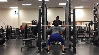 Pawg doing squats tight blue leggings