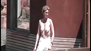 Naked girl in a german sauna garden (5)