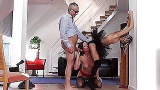 European stockinged babe shares oldmans cock
