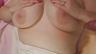 Cum all over my wife's tits!!