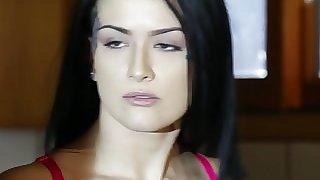 Tattooed model fucks burglar in dining room