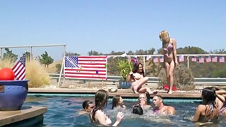 Pool party ends well for teen in the mood for cock