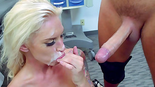 Blonde nurse gets jizz on face after severe fuck