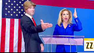 Trump gone mad on hot blonde parody with Cherie DeVille