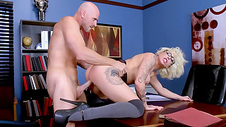 Busty cougar fucked in the office by man with extra large penis