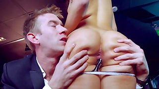 Butt fucked by business partner and made to swallow