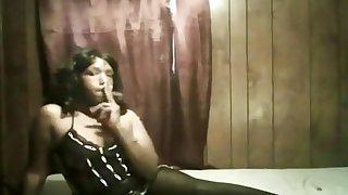 smoking in short skirt