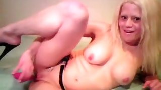 Blonde Barbie Blaze Plays with herself Until she cums with her Pink toy