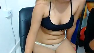 Blonde in her underwear is on her live cam chatting and tea